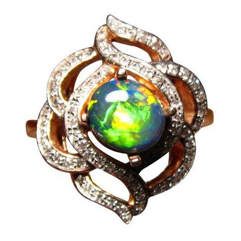 Black Opal Neon black opal ring fancy gold black opal rings