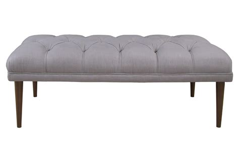 grey tufted bench colette 49 quot tufted bench gray entryway from one kings lane