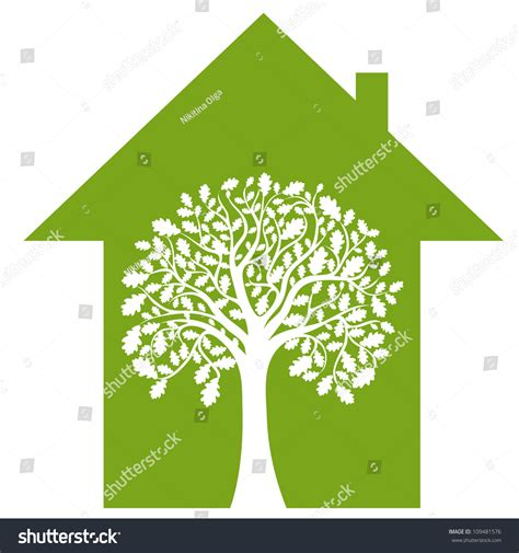 Abstract House Green Tree Vector Image Stock Vector 109481576 Shutterstock Abstract Green Tree Logo Vector Free