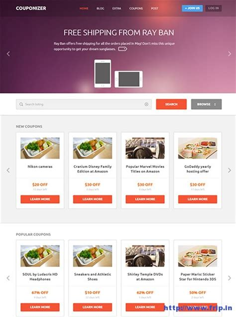 11 best coupon website template 2017 frip in