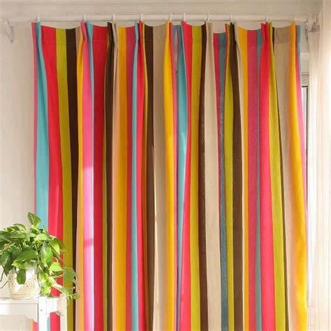 Colorful Drapes Curtains Custom Colorful Cotton Striped Curtains For