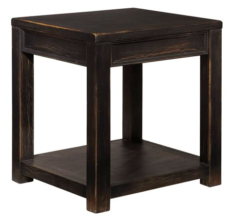 Gavelston Vintage Weathered Black Square End Table