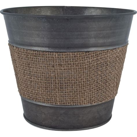 home depot zinc paint pride garden products 9 in tin black zinc planter with