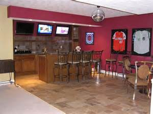 Garage Man Cave Designs basement sports bar with hardwired disco ball