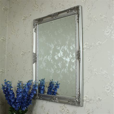ornate silver wall mounted mirror shabby vintage chic