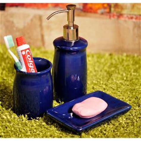 royal blue bathroom accessories exclusivelane ceramic bathroom accessory set of 3