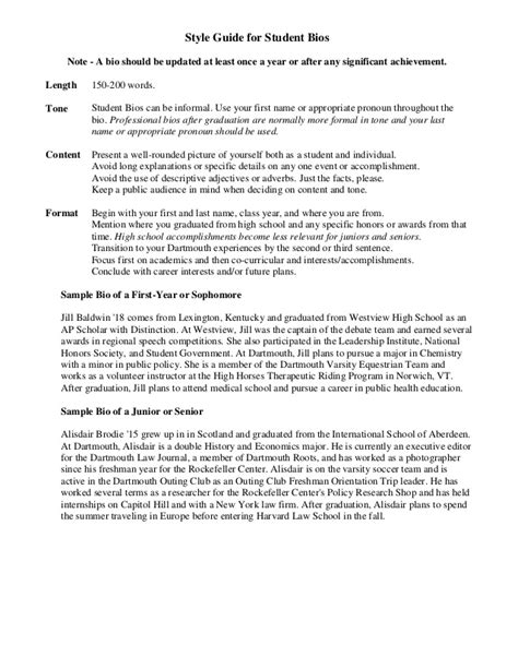 biography templates for students sle student bio