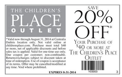 printable children s place outlet coupons the children s place outlet 20 off printable coupon
