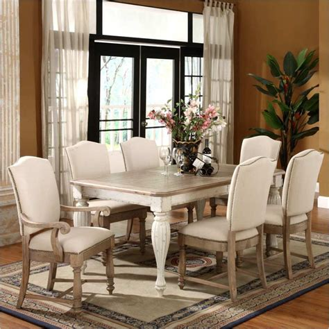Coventry Dining Table Coventry 7 Dining Table Set In Weathered Driftwood And Dover White 32550 7pc Pkg