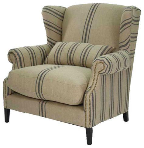 wingback accent chair navy striped half wingback chair modern armchairs and