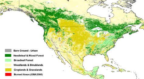 vegetation map of america burned area and grouped umd vegetation map for
