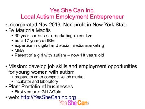 Regeneron Internship Mba by Autism Employment And Yes She Can Inc