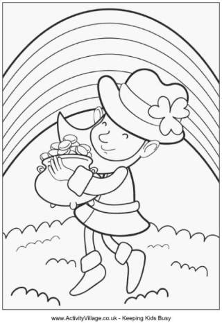 leprechaun coloring page kindergarten st patrick s day colouring pages