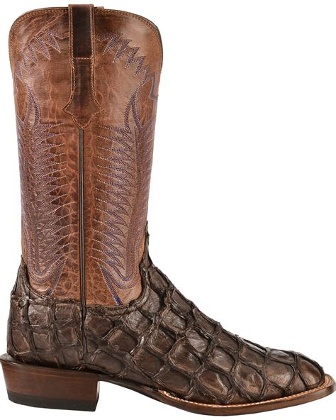 Country Boots Original Handmade Brown Black lucchese handmade chocolate brown pirarucu cowboy boots square toe country outfitter