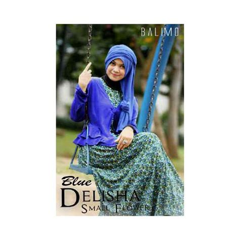 Balimo Blue delisha 3 blue baju muslim gamis modern