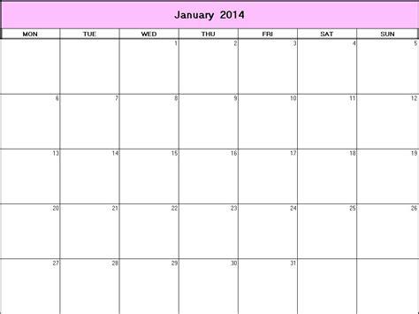 blank january 2014 calendar printable calendar template 2016