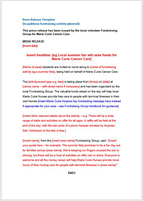 Press Release Template ? 15 Free Samples (MS Word Docs