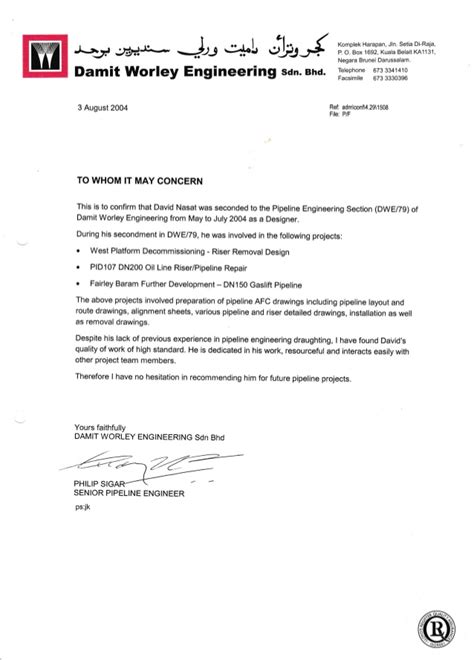 Permission Letter To Visit A Museum 06 Recommendation Letter From Hod Pipeline Damit Worleyparsons Brunei