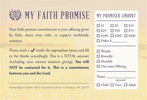 promise cards templates faith promise commitment card non perforated c