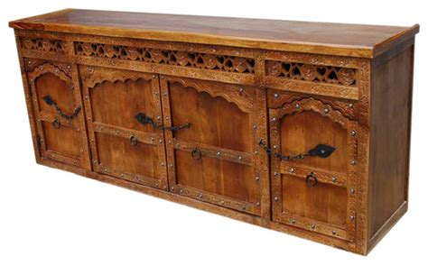 Solid Wood Hand Carved Sideboard Buffet W Wrought Iron Solid Wood Sideboards And Buffets