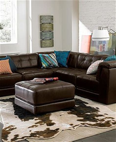 Stacey Leather Sectional Sofa by Macys Stacey Leather Sectional Sofa 6 Modular 3