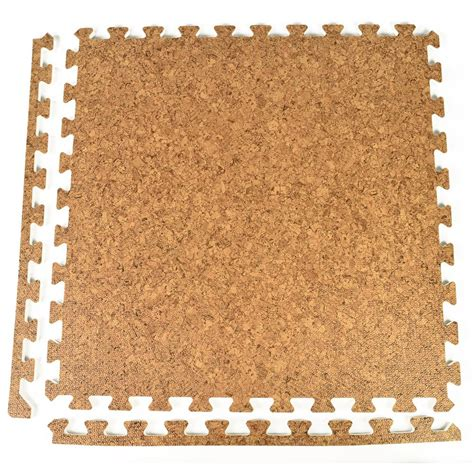greatmats foamfloor cork design 2 ft x 2 ft x 1 2 in foam interlocking floor tiles case of