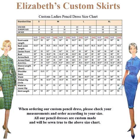 pencil dress pencil skirt standard size chart us