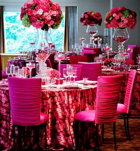 Hot pink chair covers   Indian Wedding Centerpieces and