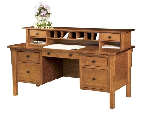 amish computer file desk mission solid wood home office furniture drawers topper ebay