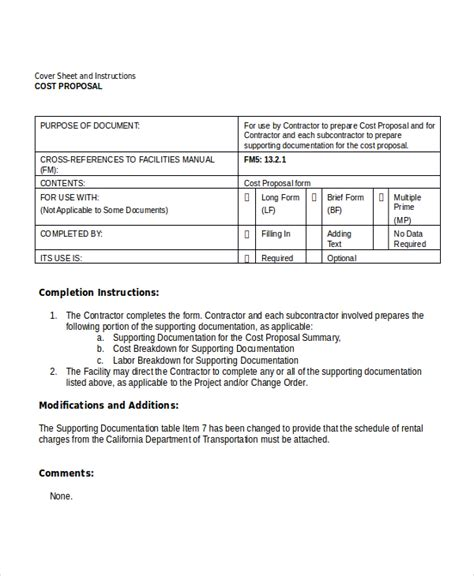 rfp cost template template 8 free word pdf document downloads