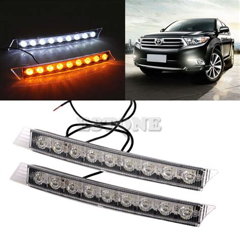Led Light Guide Daytime Running Lights Drl Yellow Turn Signal For Chev auto led lights 2x 9leds daylight daytime running driving