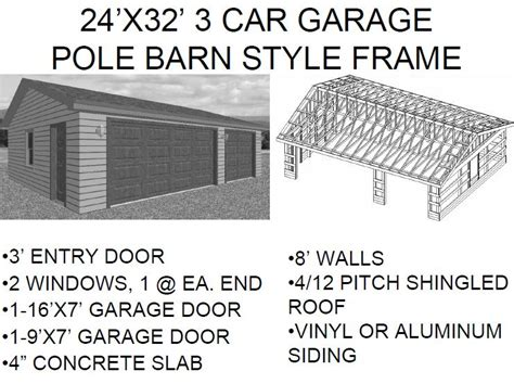 free 3 car garage plans photo 24x32 garage plans images 24x32 pole barn plans