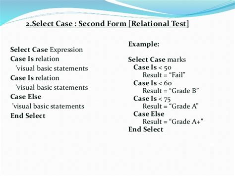 select case visual basic if and select statement