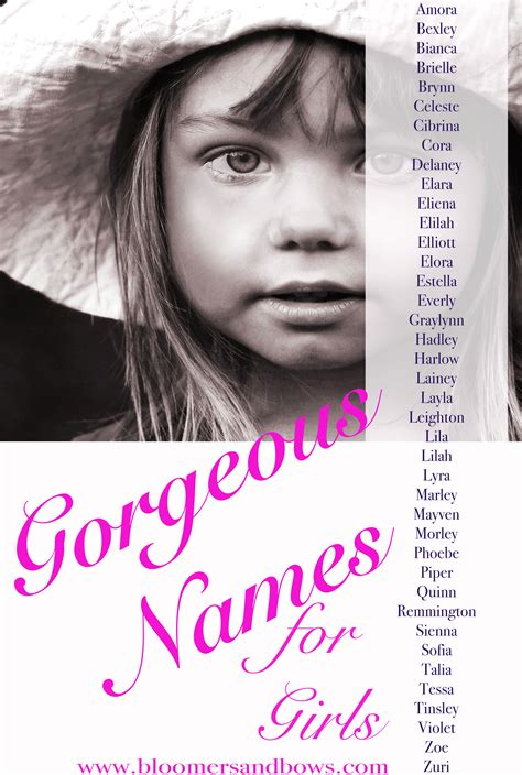 beautiful names for girls bloomers and bows