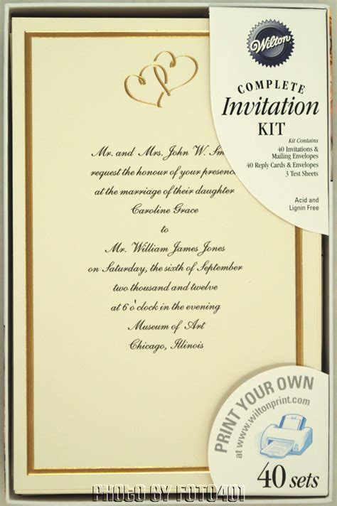 Printable Wedding Invitations Wilton | 160 wilton ivory gold hearts wedding invitation kits