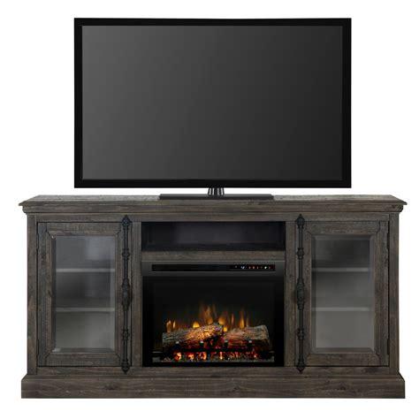 weathered gray console muskoka mccrea 56 in media electric fireplace in dark