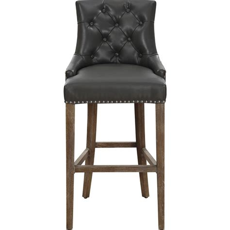 Grey Leather Bar Stool Tov Furniture Uptown Leather Counter Stool Grey Sportique