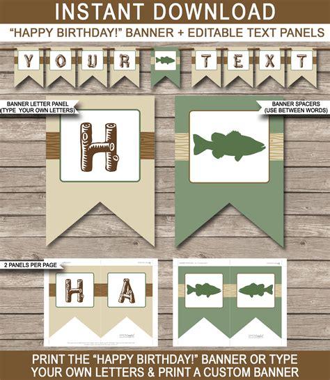 printable fish banner fishing party banner template birthday banner editable