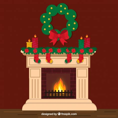 lovely chimney with christmas decoration vector free
