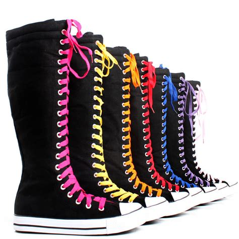 pattern lace up knee high sneaker boots canvas sneakers flat tall casual punk womens skate shoes