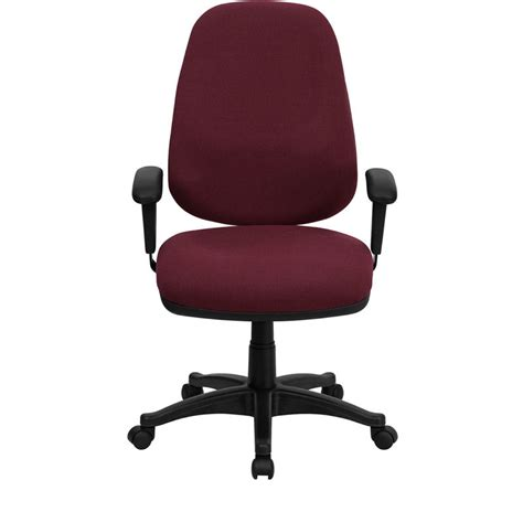 Computer Chair Adjustable Arms by High Back Burgundy Fabric Ergonomic Computer Chair With
