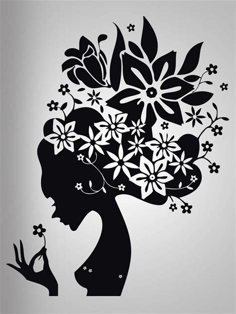 flower hair decal wall sticker home decor stencil