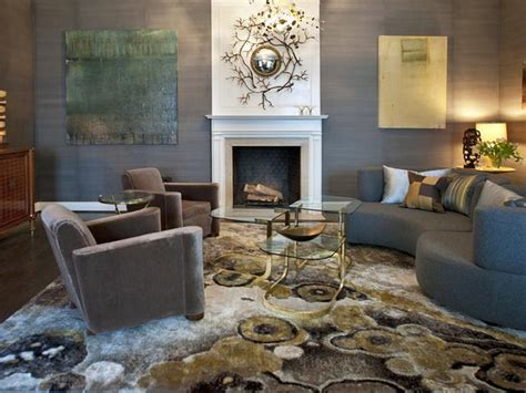 grey and gold living room gray contemporary living room with white fireplace hgtv