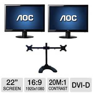 inland 05322 dual lcd desk mount aoc 22 wide screen monitor and inland dual lcd desk mount