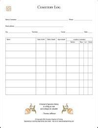 cemetery log sheet