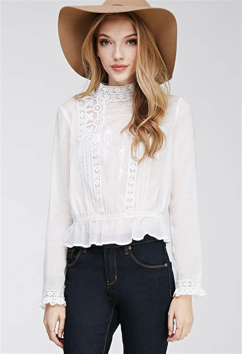 Forever Blouse forever 21 embroidered high neck blouse in white lyst