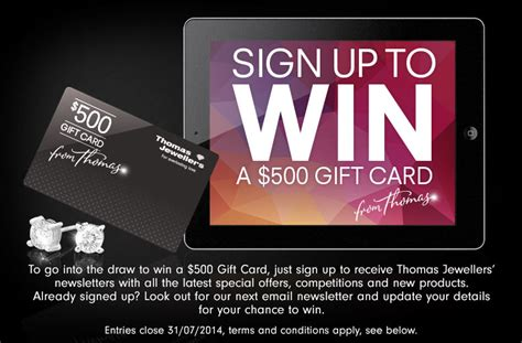 Win Free Gift Cards Online - thomas jewellers win a 500 gift card australian competitions