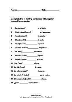 spanish present tense regular verb exercise by sra casado