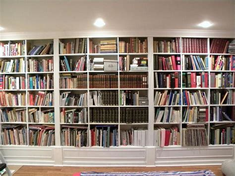 Gorgeous White Wooden Built In Large Bookshelf Ideas For Wall To Ceiling Bookshelves