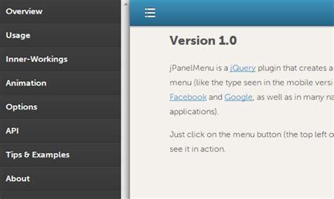 how to create a animated sidebar menu using html css jpanelmenu slick navigation sidebar with css animations